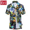 2016 Summer Hawaiian Shirt Men Casual Beach Slim Fashion Floral Shirts Coconut Palmera Printing Camisa Hombre Social Curtas X001