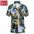 2016 Verão Homens Da Camisa Havaiana Praia Ocasional Magro Moda Camisas Florais Palmera de Coco Impressão Camisa Hombre Sociais Curtas X001