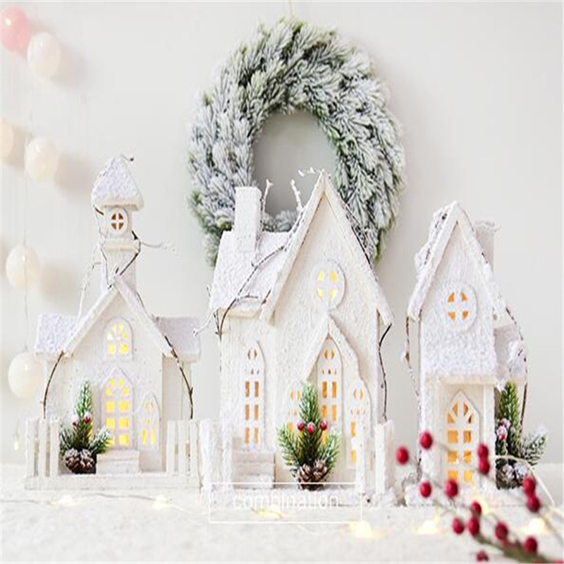 1PC Wood LED House Christmas Tree Snowflakes Decoration Crafts Xmas Element Creative DIY Home Decor Figurines Miniatures Gifts