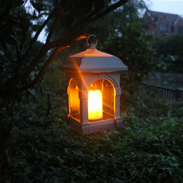 Waterproof Led Solar Ed Candle Lantern With Amber Luminaria Lamp Outdoor Decorative Light Umbrella Hang Garden