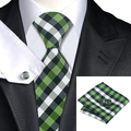 2016 Fashion Silk Tie Yellowgreen Black White Plaid Ties Hanky Cufflinks Set Gravata Business Wedding Ties For Men C-942