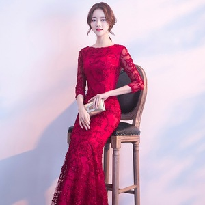 Image 4 - DongCMY ロングフォーマルスリーブイブニングドレス Burgund 色 Vestido プラスサイズパーティー均等化ガウン