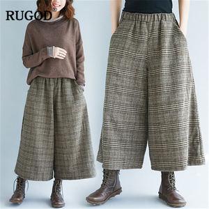 Image 4 - RUGOD 2019 moda ekose kadın pantolon yüksek bel geniş bacak pantolon rahat gevşek kadın pantolon pantalones mujer cintura alta