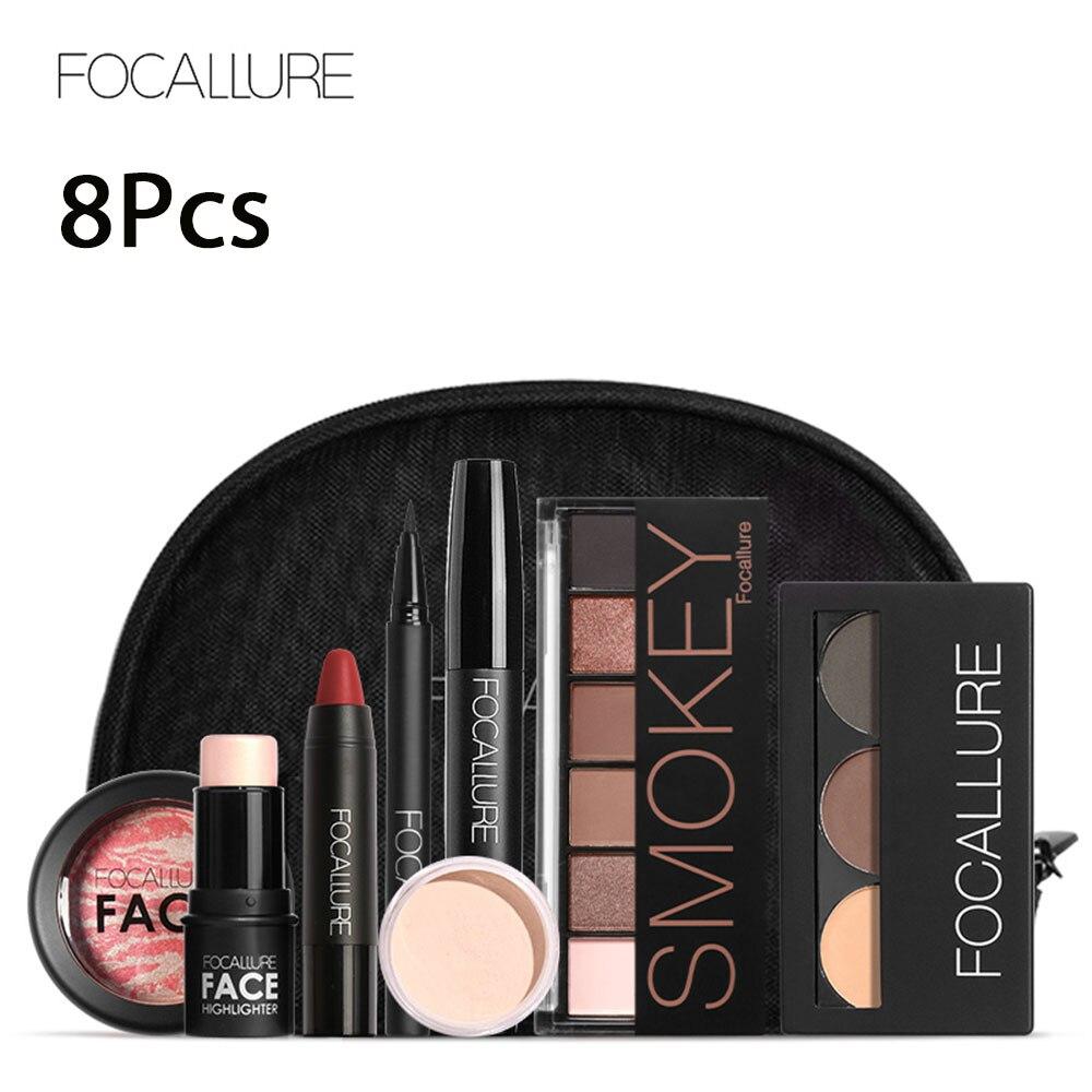 FOCALLURE 8PCS/Kit Makeup Set For Women Including Lipstick Mascara Eye Shadow Powder Blush Concealer Cosmetics Bag MaquillajeFOCALLURE 8PCS/Kit Makeup Set For Women Including Lipstick Mascara Eye Shadow Powder Blush Concealer Cosmetics Bag Maquillaje