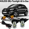 2x de Alta Potencia de 20 W Para Renault Koleos 2013 LED DRL Del Coche LED Luces de Circulación Diurna y Frente Señales de Vuelta de Luz Todo En uno