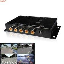 Автомобиль 4-х Композитный RCA Video Splitter поддержка Распределения сзади автомобиля вид спереди камеры четыре камеры переключатель control box