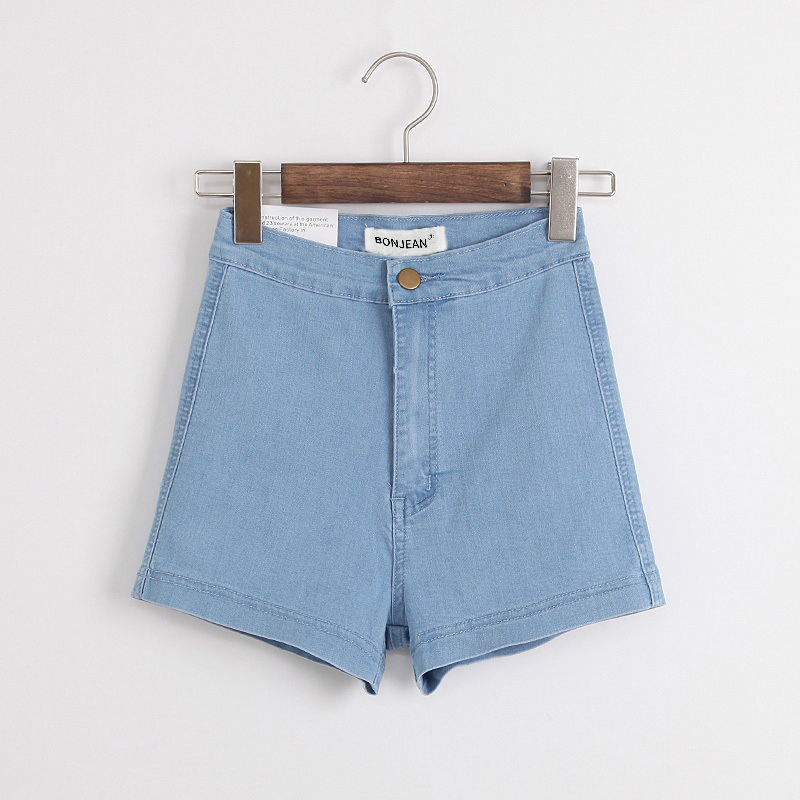 BONJEAN Europe Style Street Fashion Elastic Womens Denim Shorts 2018 Summer Slim Push Up High Waist Shorts For Women Short Jeans