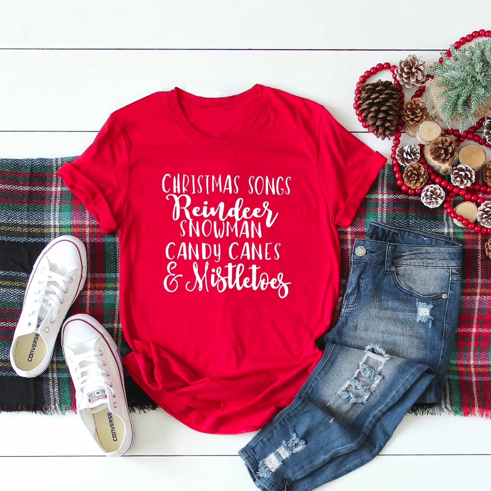 Christmas songs reindeer candy canes mistletoes t-shirt fashion red women slogan unisex party gift grunge tumblr tee goth shirt image