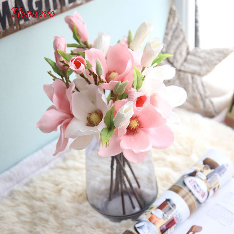 Thai quality 2heads/bouquet silk Magnolia flower artificial ...