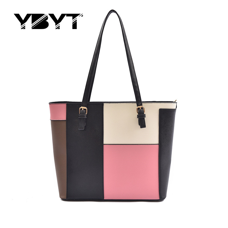 YBYT brand 2017 new patchwork totes large women shopping handbags hotsale joker briefcase package ladies shoulder messenger bags