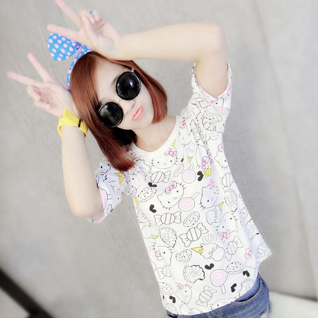 26b27040e 2016 fashion Women's Summer T-Shirt Clothes Shirt O-neck Hello Kitty  cartoon Printed