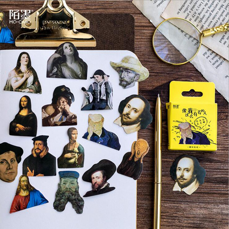 45 Pieces/box, Mona Lisa Celebrity Series Box Stickers Student Creative Stationery DIY Scrapbook Diary Label Sticker Gift