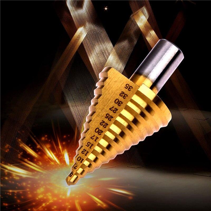 Step Drill Cone Cutter HSS 5-35mm Titanium Bit Hole Cutter Tools