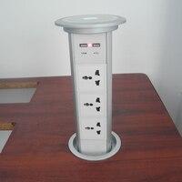 Электрический всплывающие питания универсальный разъем 3 питания ООН и 2 зарядки USB Скрытые столе гнездо Бесплатная доставка
