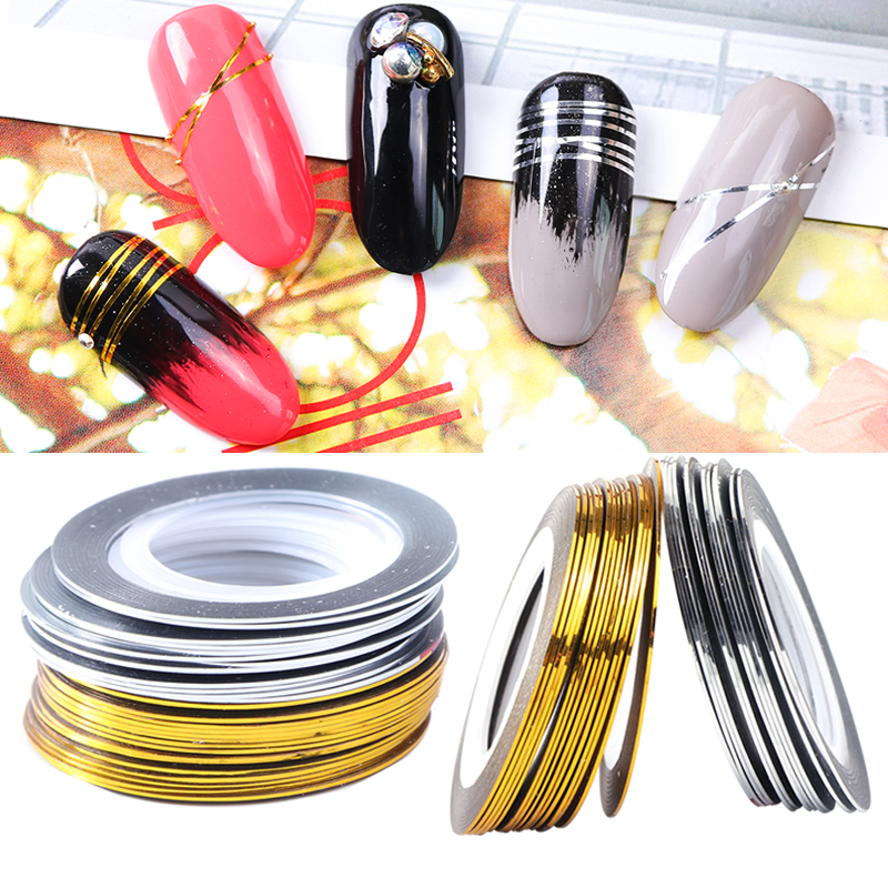 0.5mm Gold Silver Striping Tape Line Nail Art Stickers Polish Transfer Nail Wire Foils Adhesive Decal Manicure Decoration TR1009