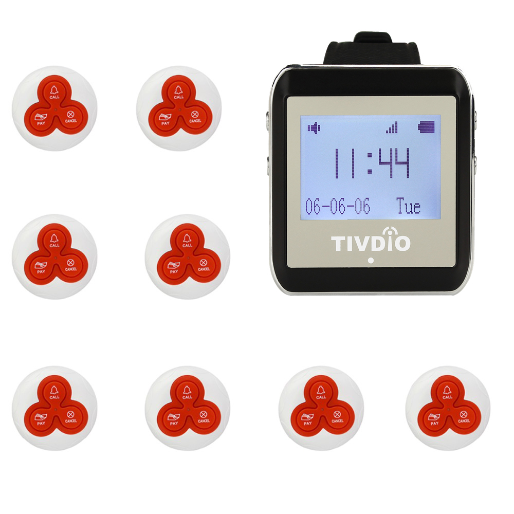 TIVDIO 1 Watch Pager Receiver+8 Call Button 433MHz Restaurant Pager Wireless Calling System Waiter Call Pager System F4413B