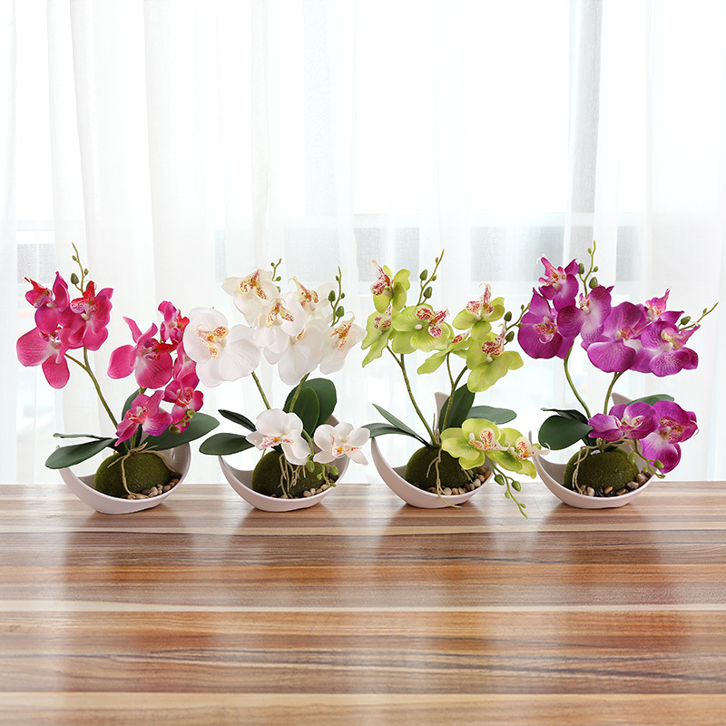 2018 Wedding Decoration Artificial Butterfly Orchid Bonsai Decorative Fake Flower With Pot Ornaments Home Table Decor Wholesale