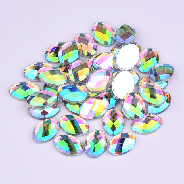 JUNAO 13 18mm Clear AB Crystals Flat Back Oval Rhinestones Glue On Crystal  Stones Non Hotfix Acrylic Strass for DIY Crafts bea7be8b4e04