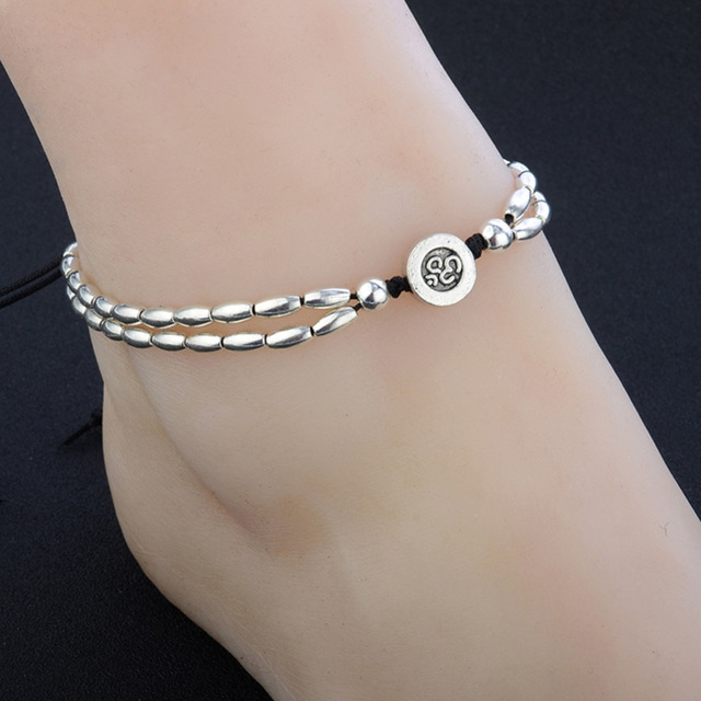 Starfish Anklet Boho Double Chain Bracelet wiVO21cT