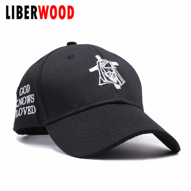 84bb9c26ede LIBERWOOD Jesus pray baseball caps Christian Holy Cross Faith Jesus cap hat  GOD KNOWS I LOVED