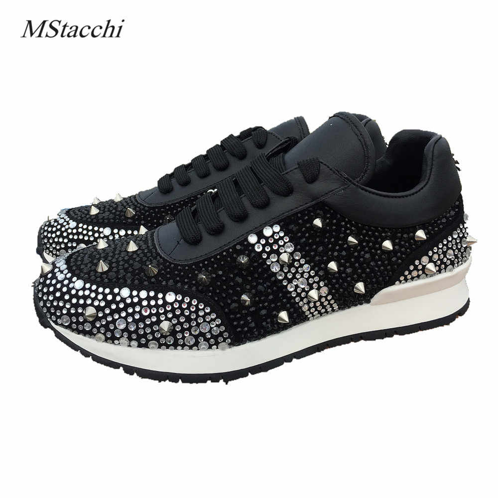 Mstacchi rhinestones หรูหรารองเท้าผ้าใบ lace up bling bling สีผสมแบนรองเท้าคริสตัล paillette Rivet รองเท้ารองเท้าผู้หญิงรองเท...