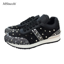 Mstacchi rhinestones mixed color crystal paillette rivet sneakers