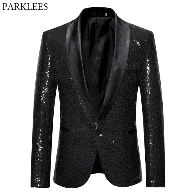 Black Sequin One Button Shawl Collar Suit Jacket Men Bling Glitter  Nightclub Prom DJ Blazer Jacket Men Stage Clothes for Singers be4fefd80e10
