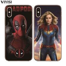 For iPhone 8 7 6 6S Plus X 5 5S SE XR XS Max Coque Etui Cover Luxury Captain Marvel DC Joker Shazam Deadpool Cat Phone Case худи print bar deadpool joker