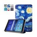 Para samsung galaxy tab a 9.7 t550 t555 pu couro pintura da arte Stand Case Cover para Galaxy Tab 9.7 Tablet + Tela Presente filme