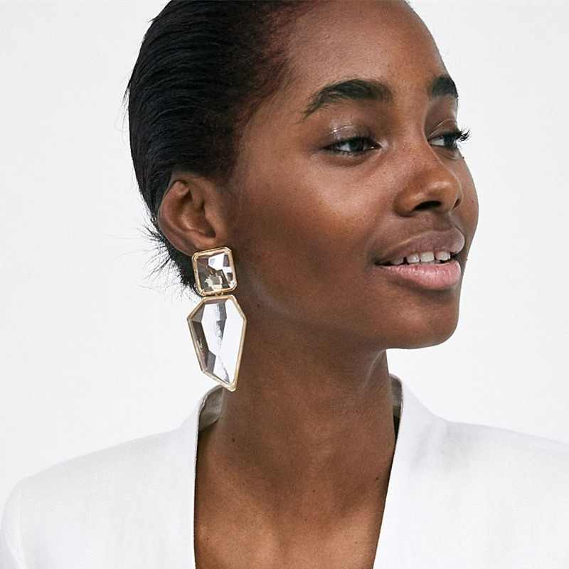JURAN Exaggerated Big Geometric Statement Dangle Earrings For Women Boho Clear Resin OL Style Earrings 2018 ZA Jewelry