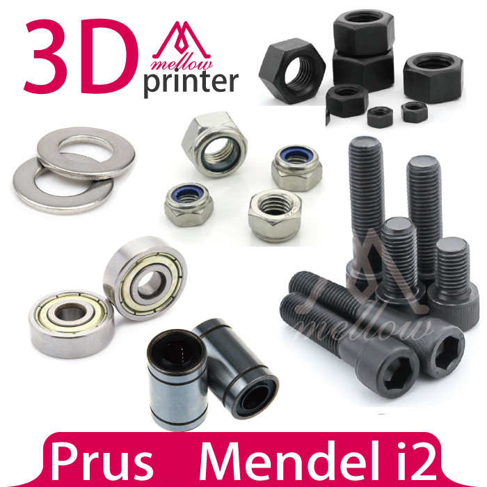 Mendel i2 3D printer dedicated hardware KIT reprap bolts nuts washer + Bearing sets-(608ZZ+LM8UU Linear Bearings) reprap prusa mendel polished smooth rods od 8mm with linear bearings set lm8uu 3d printer accessory top quality