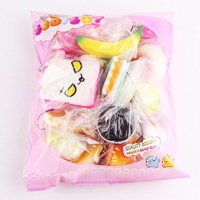 15 Pcs Pack Squishy Slow Rising Bread Squishies Pendant Donut Charm Antistress Squishes Stretchy Squeeze Toy