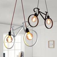 Promo Bicicleta nórdica hierro café Loft pasillo Bar tienda techo lámpara Droplight café lectura habitación decoración regalo