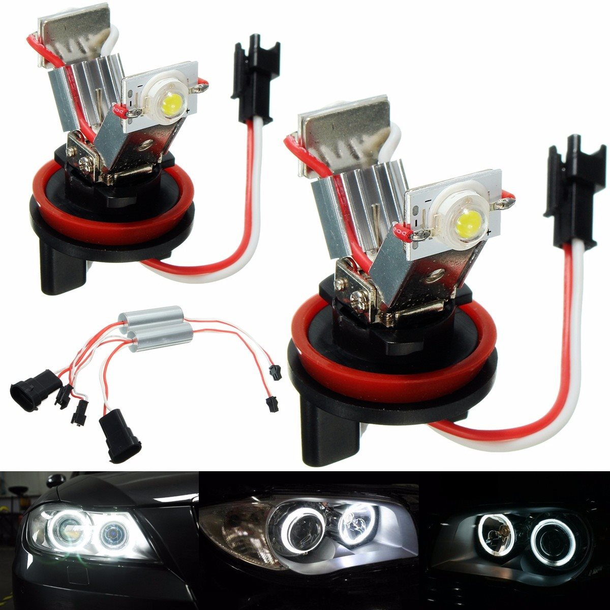1 Pair 12W H8 LED Bulbs Angel Eyes Halo Light Bulbs Marker Headlight For BMW E60 E82 E87 E90 E92 футболка print bar real огненный лого