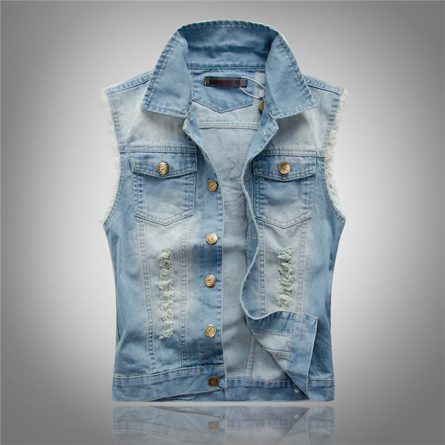2015 Spring Summer Men Vintage Jeans Jacket Sleeveless Ripped ...