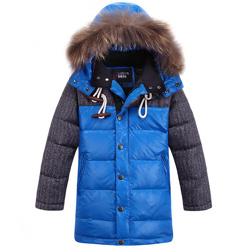 2016 winter new boy down coat fur collar hooded children's winter jackets patchwork winter jacket boys long thicken kid outwear