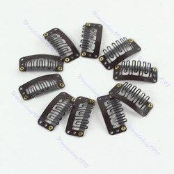 40 pçs/lote u loira/marrom/preto snap clip para extensão do cabelo peruca trama 32mm