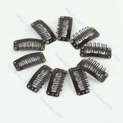 40 шт./лот u-русый/коричневый/черный оснастку Клип для Химическое наращивание волос парик утка 32 мм