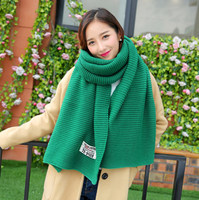 Wool Knitted Winter Scarf Women Fashion Autumn Knitting Thick Warm Scarves Men Casual Label Scarf Unisex