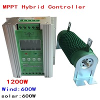 1200W Wind Solar Hybrid Controller 12V/24V, Boost MPPT 600W Wind + 600W Solar with Anti charging and Battery Reverse Protection