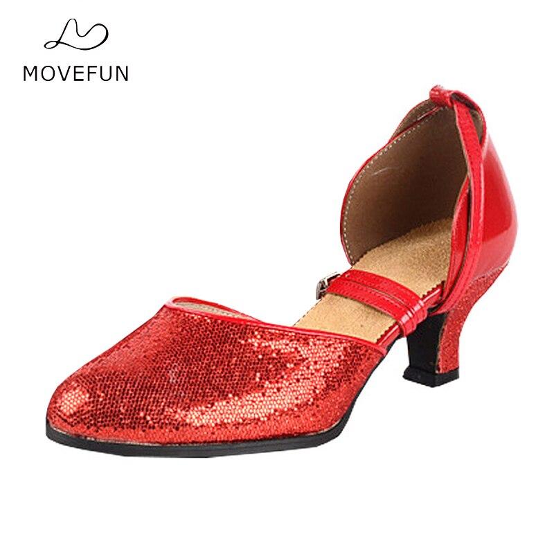 MoveFun Brand voksne latin dans sko til kvinder piger square dansesko lady stor størrelse 34-41 kvinde dansende sneakers heel5cm-51