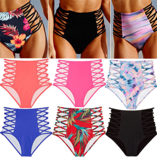 7d659480819 Women High Waist Bandage Swimwear Bottoms Floral Bikini Briefs Beachwear  Panties Two-Piece Separates
