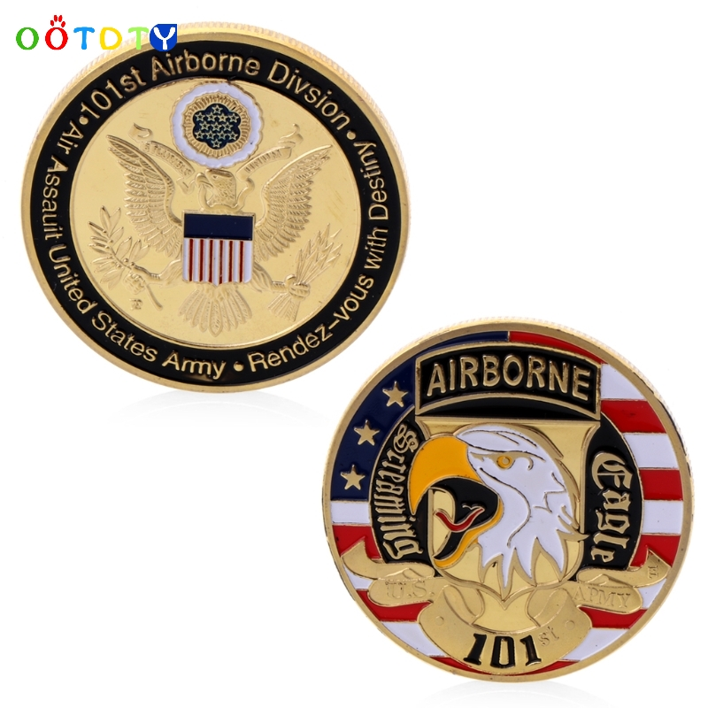 Gold Plated USA 101st Airborne Division Commemorative Challenge Coin Collection