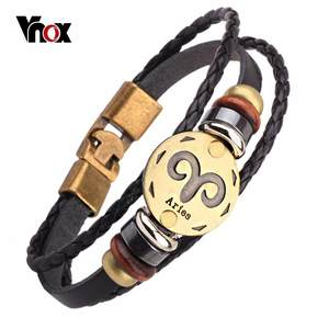 Vnox Leather Bracelet Men Charm Bracelet Male Jewelry