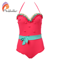 Andzhelika Swimsuit Women One Piece Swimwear Sexy Strapless Patchwork Bathing Suit Sports Bodysuit Bow Swim Wear