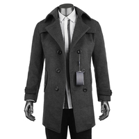 New 2017 Woolen Jacket And Coat Men Casual Windbreaker Fashion Solid Long Double Breasted Gray Coats