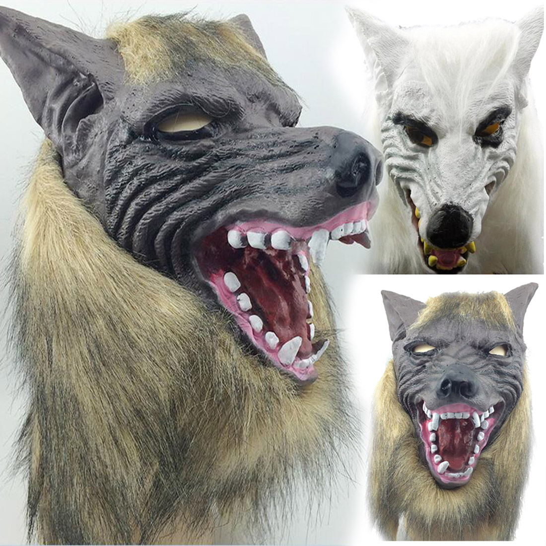 5882685389 Detail Feedback Questions about Amazing Design Animal Wolf Head Shape with  Hair Mask for Cosplay Fancy Dress Costume Party for Scary Halloween Party  on ...