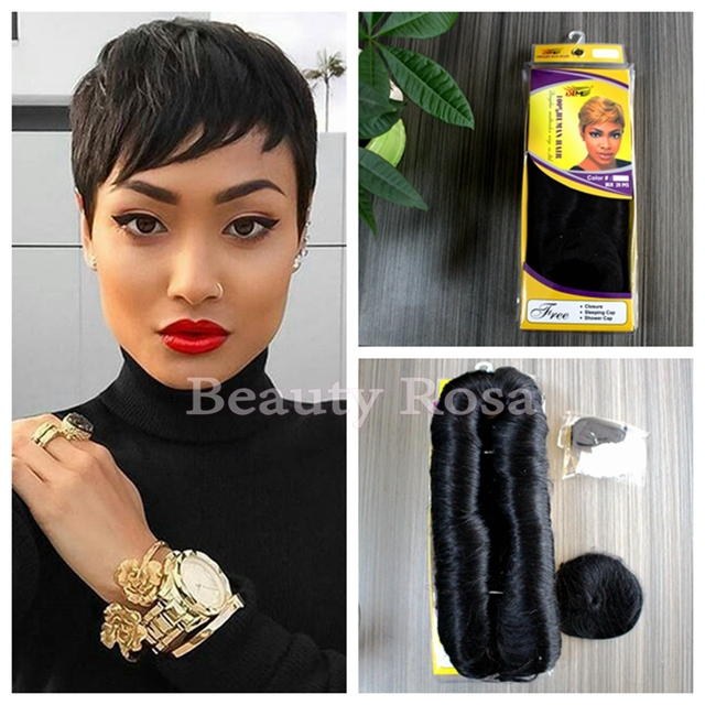 Hot Human Short Hair Pieces 27 Extensions Straight