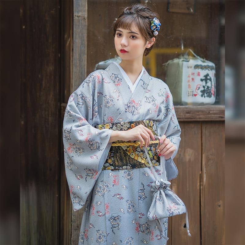 Gray Vintage Japanese Yukata Elegant Women Kimono Gown With Obi Printed Cosplay Costume Female Formal Evening Party Dress