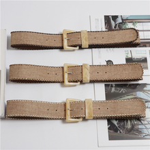New Vintage Knitted Wax Rope Wooden Bead Waist Women Smooth Buckle Belt Woman Woven Female Hand-Beaded Braided BZ85